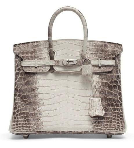 Sac « Birkin Himalaya » 25 cm. en crocodile niloticus blanc mat, garniture en métal argenté palladium Hermès, 2014. Vente Christie's mars 2015 (Estimation : €40.000-50.000).  (Hermès)