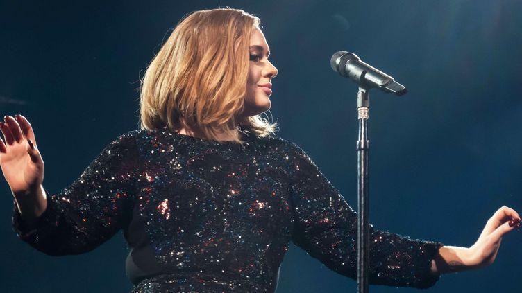 Adele sur scène à Belfast, lors du coup d'envoi de sa tournée le 29 février 2016.  (WENN.com / Sipa)