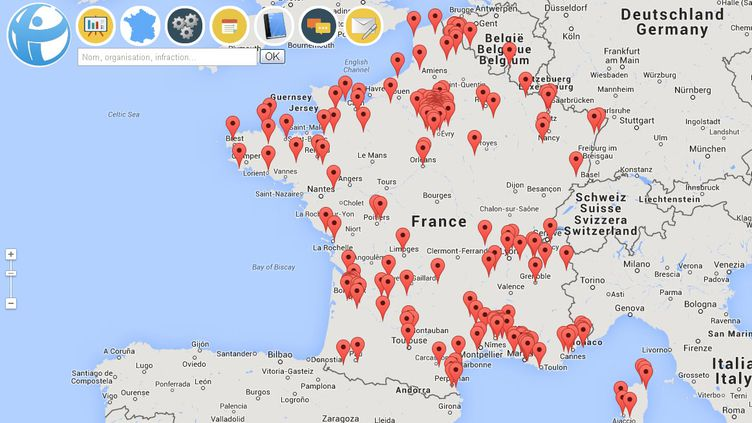 (Cette carte représente la base de données la plus exhaustive jamais constituée sur la corruption en France © Maxppp)