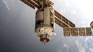 Le module russe Nauka rejoint la Station spatiale internationale, le 29 juillet 2021. (HANDOUT / RUSSIAN SPACE AGENCY ROSCOSMOS / AFP)