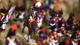 Frédéric Pierrot a réussi à recréer les plus grandes batailles de Napoléon en créant une armée entière de Playmobil à la cocarde.  (PASCAL POCHARD-CASABIANCA / AFP)