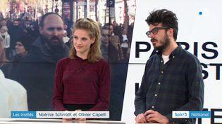 Noémie Schmidt et Olivier Capelli sur le plateau du Soir 3, samedi 29 avril 2018. (FRANCE 3)