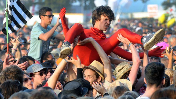 La foules des spectateurs lors du concert du groupe Pulp, en ouverture du festival des Vieilles Charrues, à Carhaix (Finistère), le 14 juillet 2011. (FRED TANNEAU / AFP)