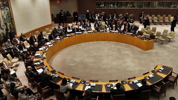 Les membres du Conseil de sécurité de l'ONU lors du vote de nouvelles sanctions contre la Corée du Nord, le 7 mars 2013 à New York (Etats-Unis). (SPENCER PLATT / GETTY IMAGES / AFP)