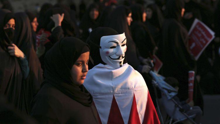 Manifestation de la minorité chiite à Manama, capitale de Bahrein, le 15 février 2014 (HASAN JAMALI / AP / SIPA)