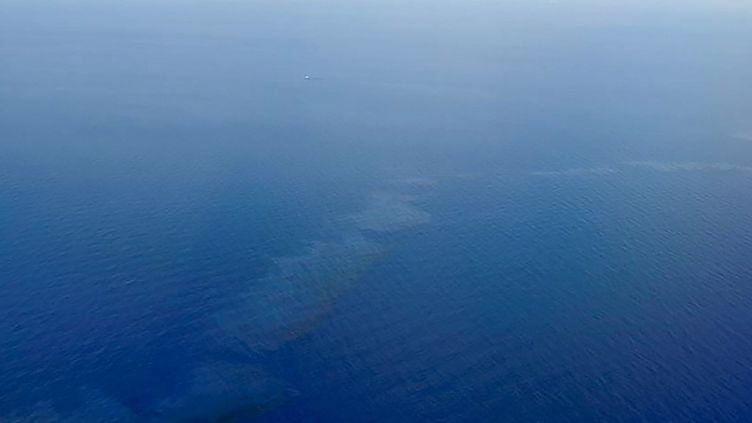 Les nappes d'hydrocarbures vue depuis un avion de la Marine nationale. (AFP PHOTO / MARINE NATIONALE)