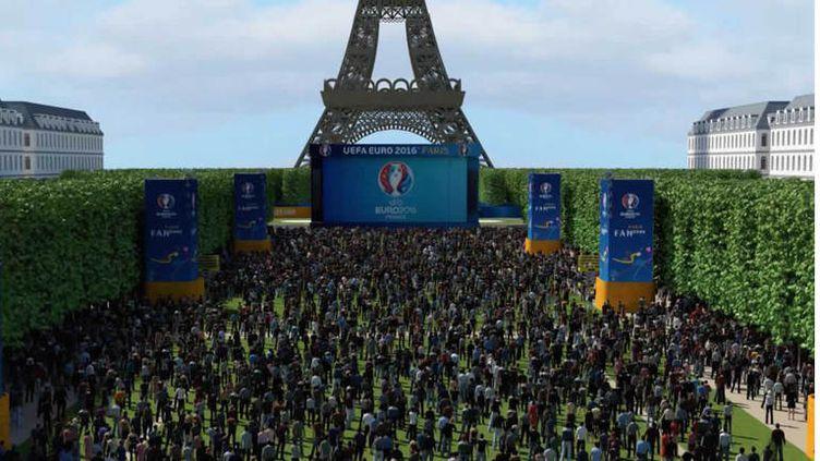 """Une simulation de la """"fan zone"""" du Champ de Mars, prévue dans le cadre de l'Euro 2016 en France. (MAIRIE DE PARIS)"""
