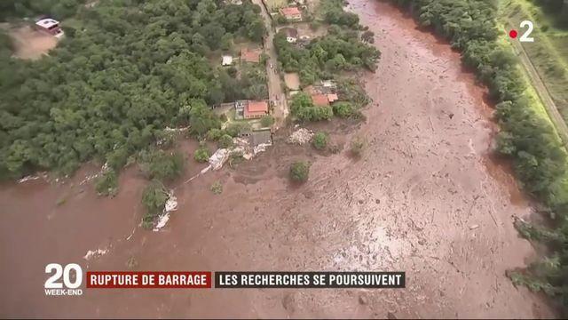 Brésil : les recherches se poursuivent après la rupture d'un barrage