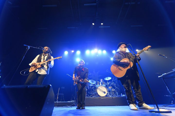 Ange sur scène à Nancy le 22 février 2018. Hassan Hajdi (guitare et choeurs), Thierry Sidhoum (basse) et Christian Décamps (chant et guitare) (ALEXANDRE MARCHI)