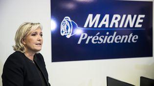 Marine Le Pen à son siège de campgane, à Paris, le 16 novembre 2016. (MAXPPP)