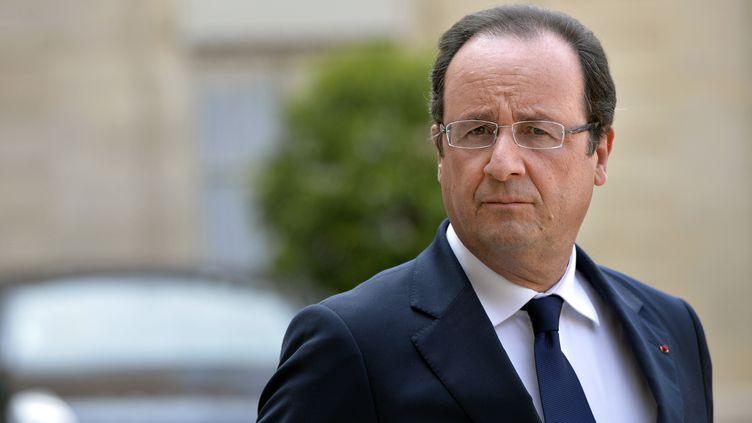 François Hollande lors de sa rencontre avec le président croate, le 13 juillet 2013 à l'Elysée (Paris). (MIGUEL MEDINA / AFP)