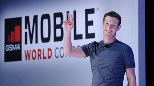Le fondateur de Facebook, Mark Zuckerberg, le 22 février 2016 à Barcelone (Espagne) lors duMobile World Congress. (JOAN CROS / NURPHOTO / AFP)