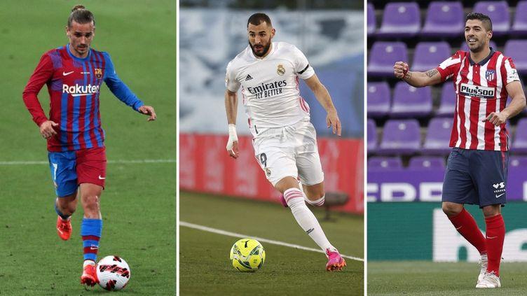 Antoine Griezmann (Barcelone), Karim Benzema (Real Madrid) et Luis Suarez (Atlético de Madrid). (AFP)