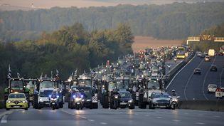 Les agriculteurs bretons en route pour Paris, accompagné par un cortège policier. A l'aube, le convoi a provoqué 8 kilomètres de bouchons sur l'A10. (JACKY NAEGELEN / REUTERS)
