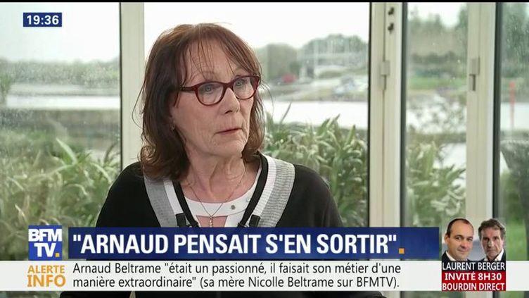 Nicolle Beltrame, mère du gendarme tué lors de l'attaque contre le Super U de Trèbes, interrogée sur BFMTV mercredi 4 avril 2018. (BFMTV)