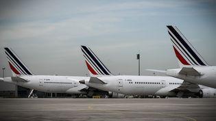 Des avions Air France à l'aéroport Paris Charles de Gaulle à Roissy (Val-d'Oise), le 11 avril 2018. (PHILIPPE LOPEZ / AFP)