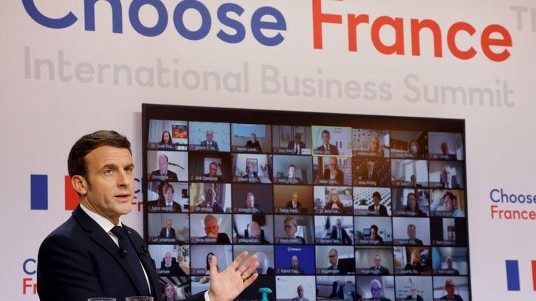 Le chef de l'Etat Emmanuel Macron au Choose France virtuel, le 25 janvier 2021. (PHILIPPE HUGUEN / AFP)