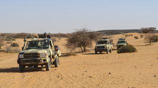 Des membres des forces maliennes patrouillent aux alentours de la ville de Gao dans le nord du pays. (SOULEIMAN AG ANARA / AFP)