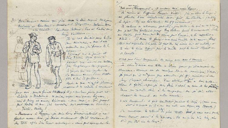 Paul Verlaine et Arthur Rimbaud dessinés dans une lettre du peintreFelix Regamey adressée à son frère en 1872. (- / CHRISTIE'S IMAGES LTD.)