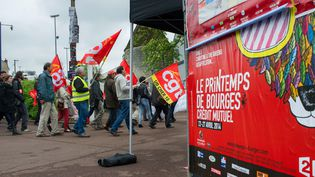 Manifestation d'intermittents du spectacle à Bourges, le 25 avril 2014  (Guillaume Souvant / AFP)