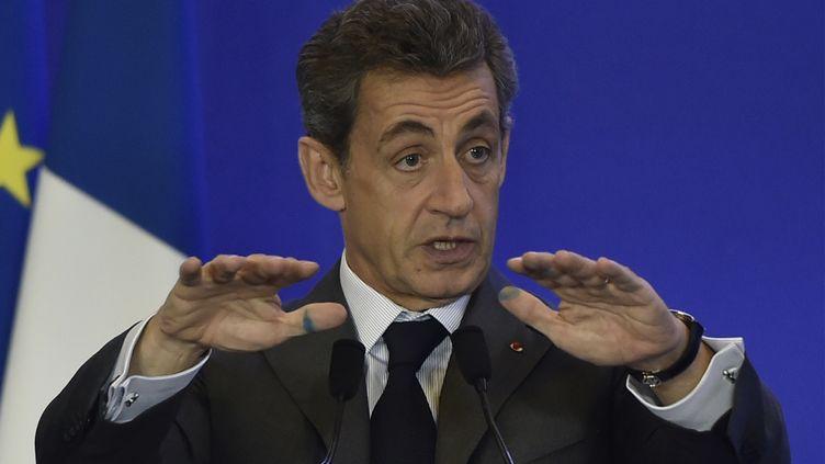 Nicolas Sarkozy lors d'un meeting sur l'Agriculture et le développement rural à Paris, le 3 février 2016. (DOMINIQUE FAGET / AFP)