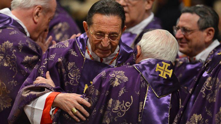 Le cardinal espagnolJulian Herranz Casado salue un autre cardinal, le 13 février 2013, au Vatican, lors d'une messe présidée par le pape Benoît XVI. (GABRIEL BOUYS / AFP)