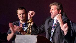 """(Sy Cody White (à g.) et jeff Moffit (à d.) vainqueurs du """"Kathleen Kennedy choice""""  © Matthieu Mondoloni/France Info)"""