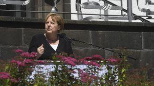 La chancelière allemande Angela Merkel, lors d'une conférence de presse à Adenau (Allemagne) le 18 juillet 2021. (CHRISTOF STACHE / AFP)