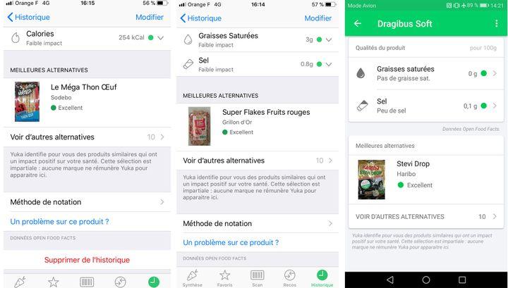 Captures d'écran de trois produits notés par l'application Yuka. (YUKA.IO)