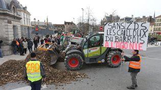 Des agriculteurs manifestentpour protester contre le remodelage de la carte des zones défavorisées, le 14 février 2018, à Troyes (Aube). (MAXPPP)