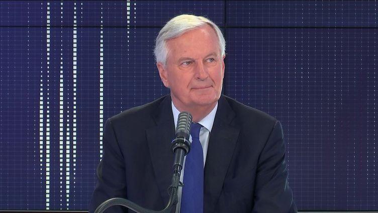 """Michel Barnier,ancien négociateur de l'Union européenne sur le Brexit était l'invité du """"8h30 franceinfo"""", lundi 14 juin. (FRANCEINFO / RADIOFRANCE)"""