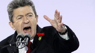 Le candidat du Front de gauche à la présidentielle, Jean-Luc Melenchon,le 18 mars 2012, place de la Bastille, à Paris. (THOMAS SAMSON / AFP)