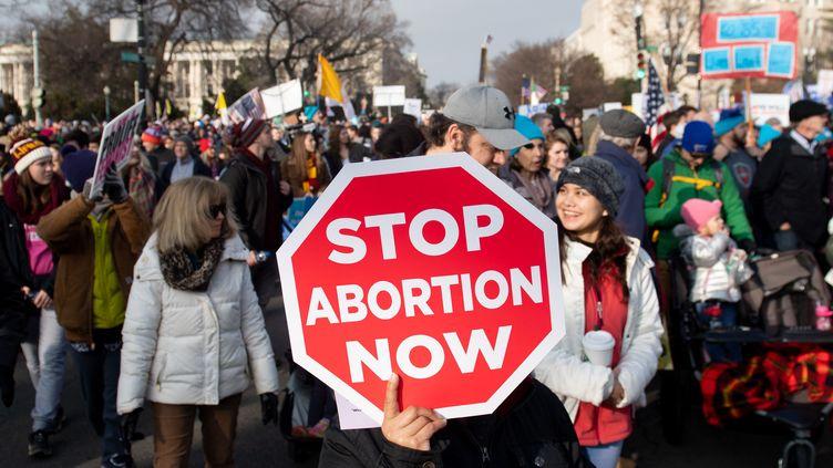 """Des activistes anti-avortement lors d'une manifestation à Washington D.C. le jour de l'anniversaire de """"Roe v. Wade"""", le 18 janvier 2019. (SAUL LOEB / AFP)"""