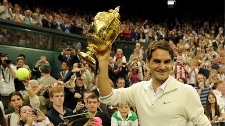 Roger Federer avec son 7e trophée de Wimbledon