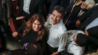 Marlène Schiappa et Benjamin Griveaux, candidat LREM à la mairie de Paris, lors d'un meeting de ce dernier à Paris, le 25 novembre 2019. (MAXPPP)