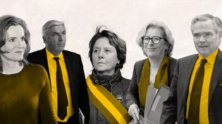 Les ex-députés Nathalie Kosciusko-Morizet, François Sauvadet, Patricia Adam, Geneviève Fioraso et Bernard Accoyer. (AFP / FRANCEINFO)