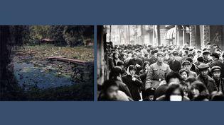 """A gauche, Flore, """"L'odeur de la nuit était celle du jasmin"""" - A droite, Marc Riboud, """"Scène de rue à Pékin, 1965""""  (A gauche © FLORE, Courtesy Galerie Clémentine de la Féronnière - A droite © Marc Riboud, Courtesy Polka Galerie)"""