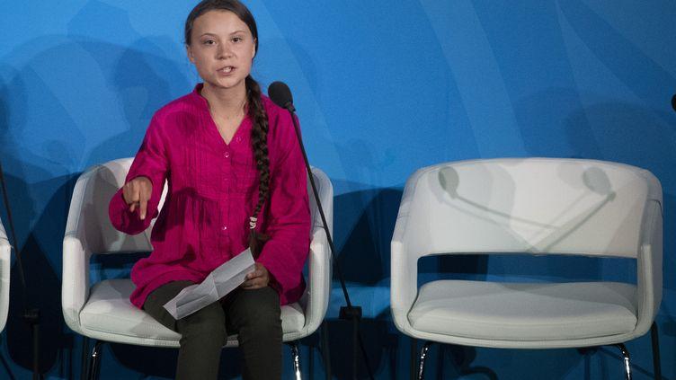 La jeune militante écologiste Greta Thunberg lors du sommet de l'ONU sur le climat, le 23 septembre 2019, à New York (Etats-Unis). (PONTUS LUNDAHL / TT NEWS AGENCY / AFP)