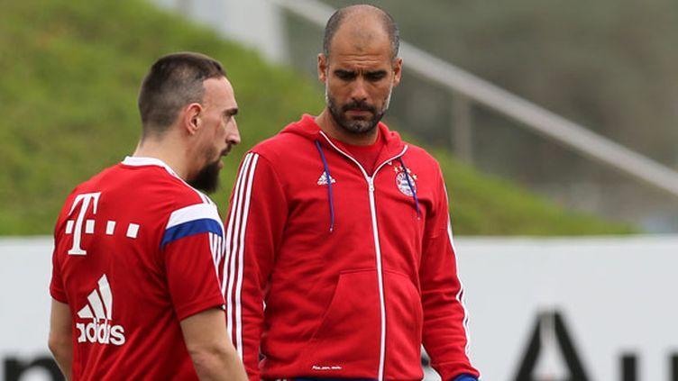 Franck Ribéry à l'entraînement sous les yeux de Pep Guardiola