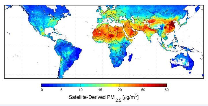 Carte de la répartition des taux departicules fines PM 2,5 entre 2001 et 2006, publiée en septembre 2010 par la Nasa. (NASA.GOV)