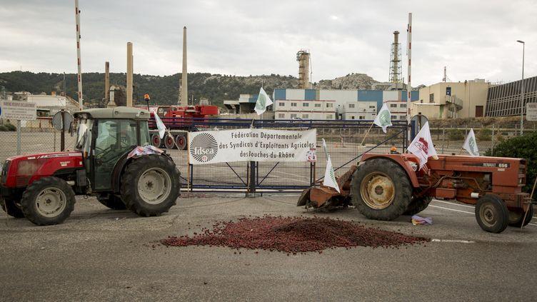 Des tracteurs devant l'entrée de la raffinerie Total de La Mède, le 11 juin 2018, àChâteauneuf-les-Martigues (Bouches-du-Rhône). (DENIS THAUST / CROWDSPARK / AFP)