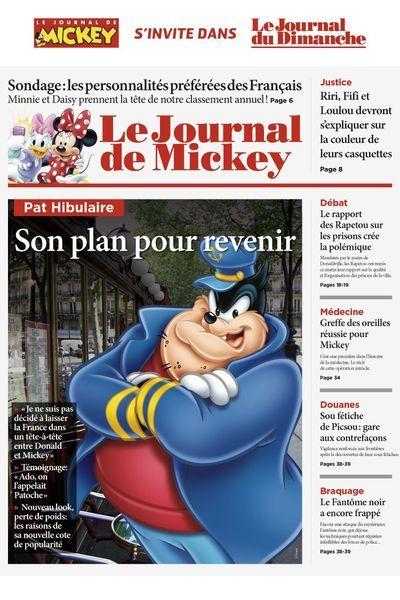 """Pour fêter ses 80 ans, en septembre 2014, """"Le Journal de Mickey"""" parodie des titres de presse français. (DR / LE JOURNAL DE MICKEY )"""
