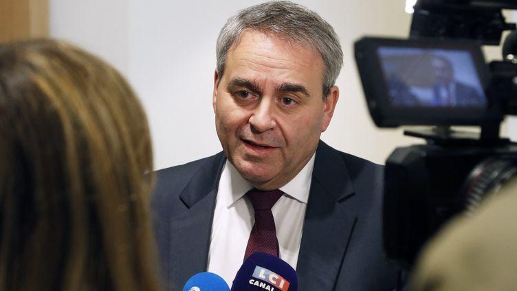 Xavier Bertrand, lors d'une interview au tribunal de Paris, le 5 février 2020. (FRANCOIS GUILLOT / AFP)
