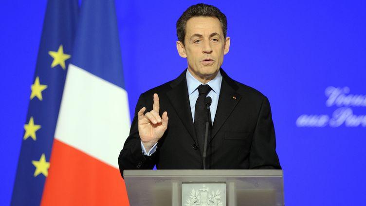 Nicolas Sarkozy présente ses voeux aux parlementaires le 11 janvier 2012 à l'Elysée à Paris. (ERIC FEFERBERG / AFP)