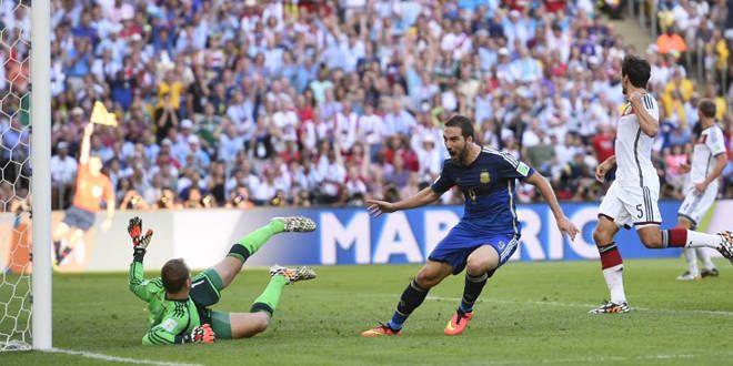 Gonzalo Higuain marque mais il est signalé hors jeu à la 30e minute de la finale