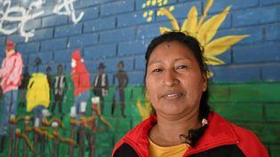 L'écologiste indigène colombienne Celia Umenza à Tacueyo, dans le département du Cauca (Colombie), le 7 septembre 2021. (LUIS ROBAYO / AFP)