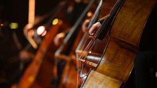 Orchestre Philharmonique dirigé par Myung-Whun Chung. Des violoncelles. (CHRISTOPHE ABRAMOWITZ / SERVICE PHOTOS)