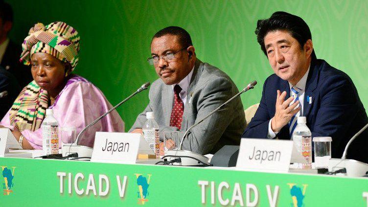 Conférence de presse commune le 3 juin 2013 à Yokohama entre le Premier ministre japonais Shinzo Abe, le Premier ministre éthiopien Hailemariam Desalegn et la présidente de la conférence, Nkosazana Dlamini-Zuma, à l'issue de la Ve TICAD. (AFP/Toru Yamanaka)