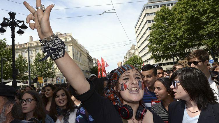 Quelque 500 manifestants ont défilé contre le FNà Marseille (Bouches-du-Rhône),jeudi 29 mai. (BORIS HORVAT / AFP)