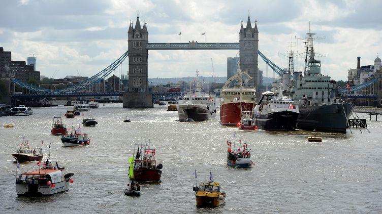 Bateau de pêche pour le Brexit sur la Tamise à Londres (Royaume-Uni), le 15 juin 2016 (KATE GREEN / ANADOLU AGENCY / AFP)